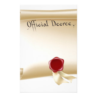 Official Decree Scroll With Red Wax Seal Personalised Stationery