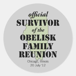 Official Family Reunion Survivor - Illinois Green Round Sticker