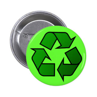 Official Green Recycle Logo Symbol Buttons