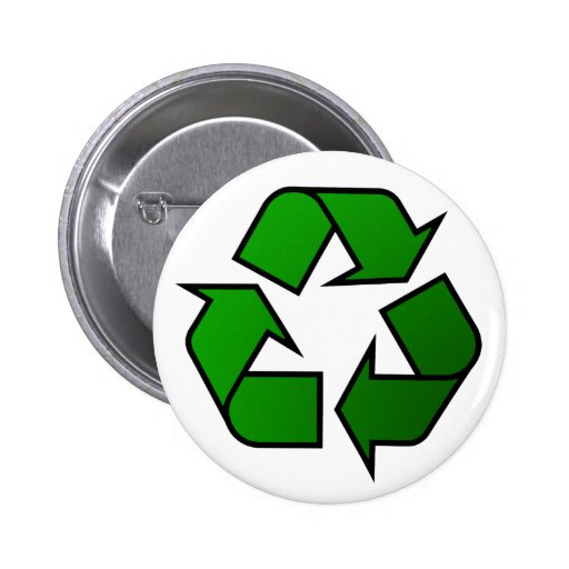 Official Green Recycle Logo / Symbol Pinback Button