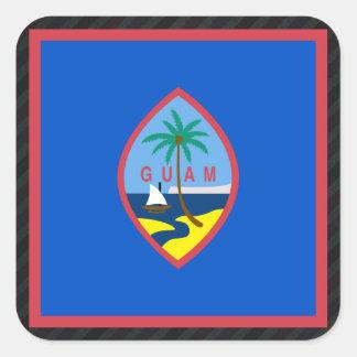 Official Guam Flag on stripes Square Sticker