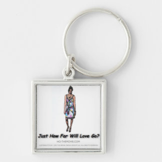 Official Ho Gear: Just How Far Will Love Go? key Silver-Colored Square Key Ring