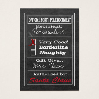 Official North Pole Document - Chalkboard Business Card