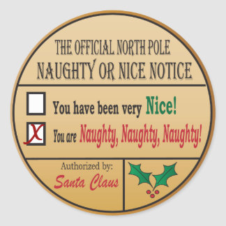 Official North Pole Naughty or Nice Classic Round Sticker
