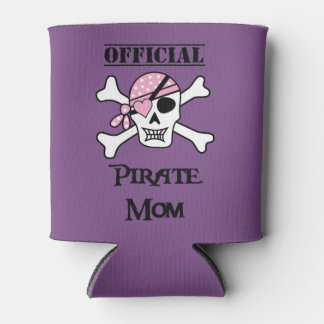 Official Pirate mom with Pink Skull Can Cooler