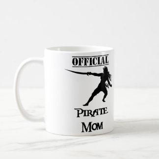 Official Pirate Mom with Sword - Black Coffee Mug
