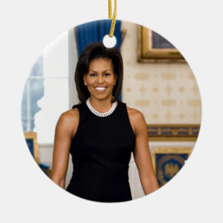 Official Portrait of First Lady Michelle Obama Ceramic Ornament