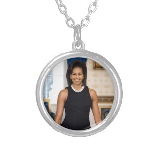Official Portrait of First Lady Michelle Obama Silver Plated Necklace