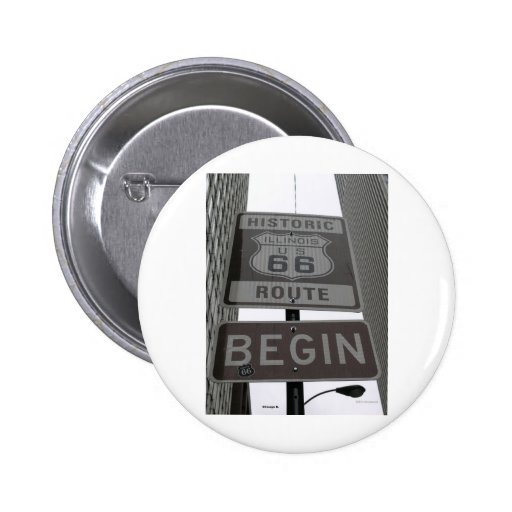 Official Route 66 begin sign Pinback Buttons