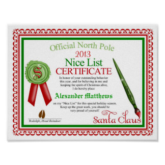 Official Santa Claus Nice List  Certificate Poster