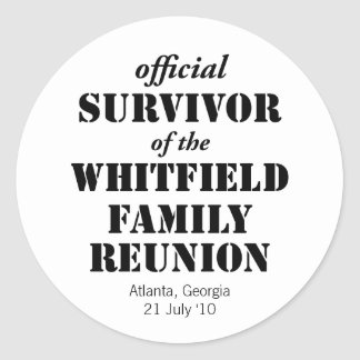Official Survivor of Our Family Reunion Round Stickers