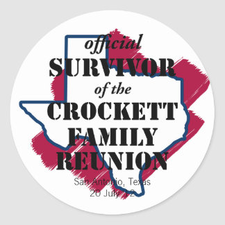 Official Survivor of Texas Family Reunion (red) Round Stickers