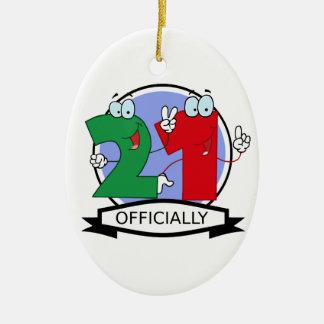 Officially 21 Birthday Banner Ceramic Ornament