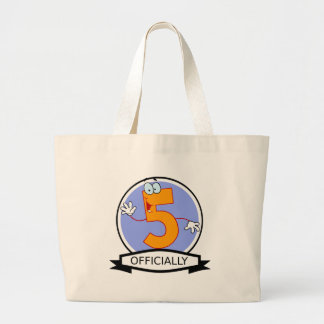 Officially 5 Birthday Banner Large Tote Bag