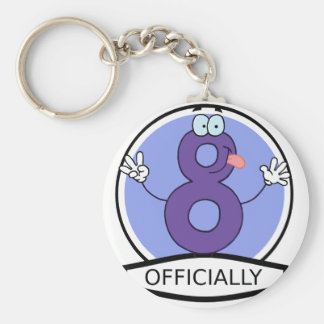 Officially 8 Birthday Banner Basic Round Button Key Ring