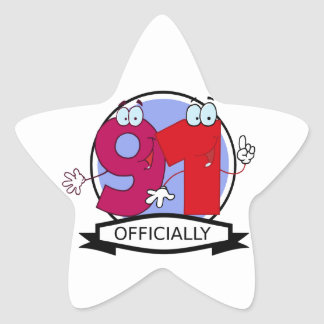 Officially 91 Birthday Banner Star Stickers
