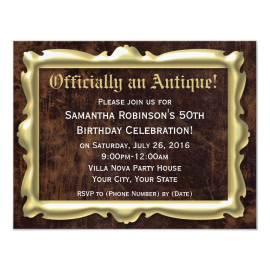 Officially an Antique Birthday Party Invitations