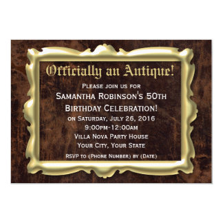 Officially Antique Funny 50th Birthday Party 13 Cm X 18 Cm Invitation Card