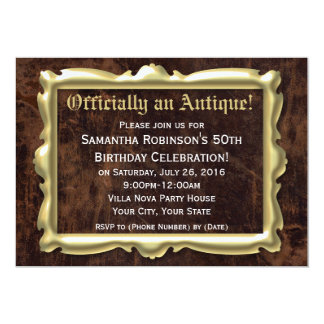 Officially Antique Funny 50th Birthday Party Invites