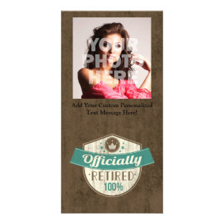 Officially Retired, 100 Percent Vintage Retirement Photo Greeting Card