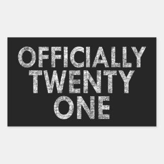Officially twenty one rectangular sticker