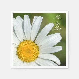 Offset Daisy Mr. & Mrs. Wedding Paper Napkin