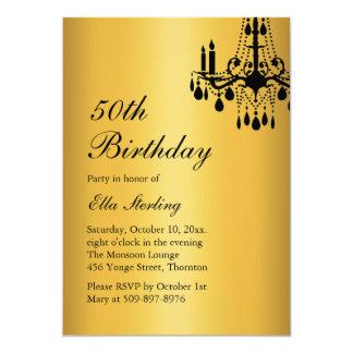 Offset Grand Ballroom Birthday Invitation gold