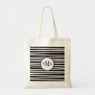 Offset Stripes Monogram Personalized Tote Budget Tote Bag