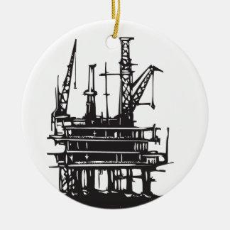 Offshore Oil Rig Ceramic Ornament