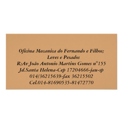 Oficina Mecanica do Fernando e Filhos;   Leves ... Photo Greeting Card