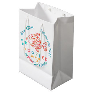 OFish'ally A Family Fish Themed Adoption Supplies Medium Gift Bag