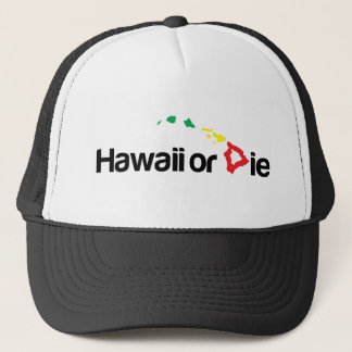 OG Hawaii Or Die Logo - Rasta Colors Trucker Hat