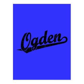 Ogden script logo in black distressed postcard