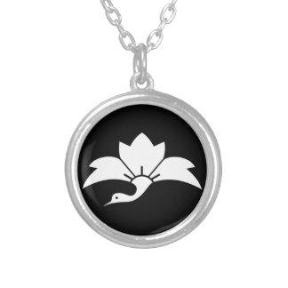 Ogre flower water caltrop crane silver plated necklace