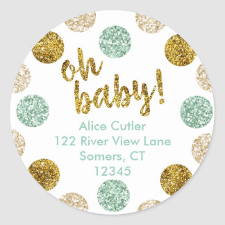 Oh Baby Address Label, Mint and Gold Glitter Classic Round Sticker