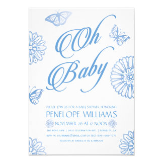 Oh Baby | Baby Shower Invitations | Boy Blue