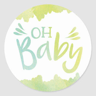 """Oh Baby"" Blue and Green Watercolor Baby Shower Classic Round Sticker"