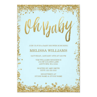 Oh Baby Blue Gold Glitter Baby Shower 13 Cm X 18 Cm Invitation Card