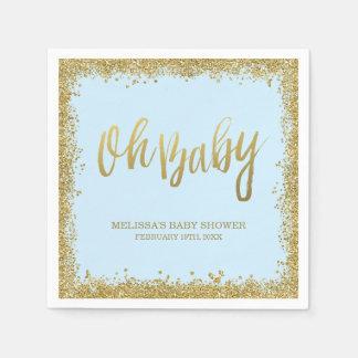Oh Baby Blue Gold Glitter Baby Shower Paper Serviettes