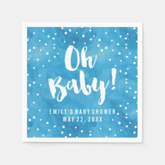 Oh Baby Blue Watercolor Baby Shower Disposable Napkins