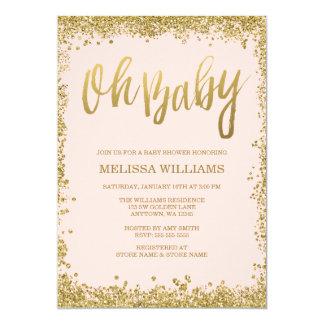 Oh Baby Blush Pink Gold Glitter Baby Shower 13 Cm X 18 Cm Invitation Card