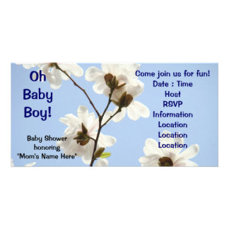 Oh Baby Boy! invitations Baby shower Magnolia Photo Card Template