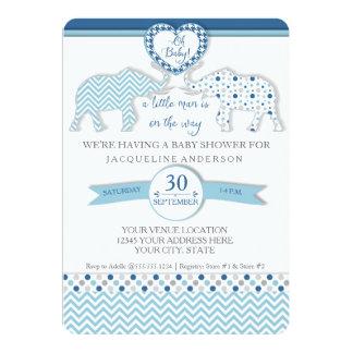 Oh Baby BOY Shower Heart Elephants Little Man Card