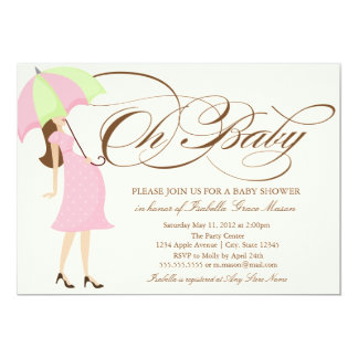 Oh Baby | Brown Script 13 Cm X 18 Cm Invitation Card
