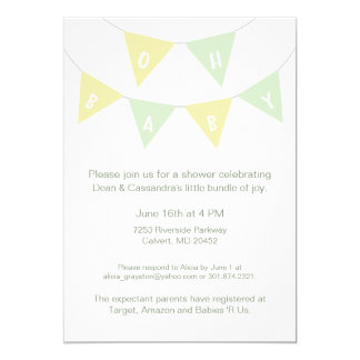 Oh Baby Bunting Shower Invitation- gender neutral Card