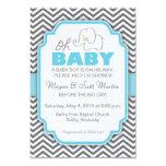 Oh Baby Elephant - Blue & Grey Baby Shower Invite