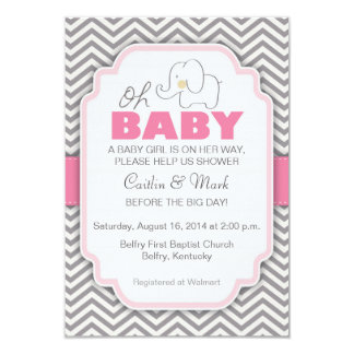 Oh Baby Elephant - Pink & Grey Baby Shower Invite