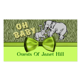 Oh Baby Elephants Zebra Print Baby Shower Double-Sided Standard Business Cards (Pack Of 100)