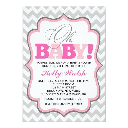 Oh Baby Girl Baby Shower Invitations Chevron