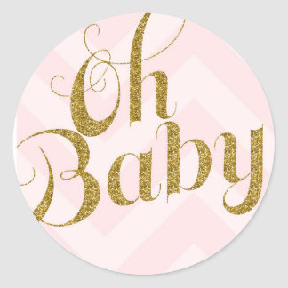 Oh Baby - Gold glitter Pink Chevron Favor Sticker